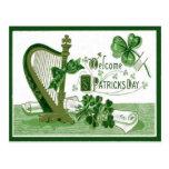 Vintage Welcome Shamrock Harp St Patrick's Day Post Cards
