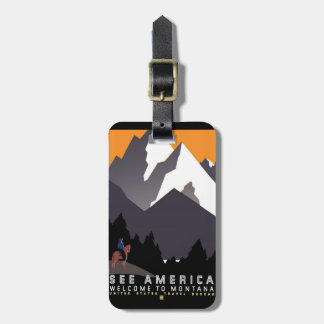 Vintage Welcome to Montana Luggage Tag
