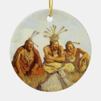 Vintage West, Guardians War or Peace by NC Wyeth Ceramic Ornament