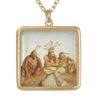 Vintage West, Guardians War or Peace by NC Wyeth Square Pendant Necklace