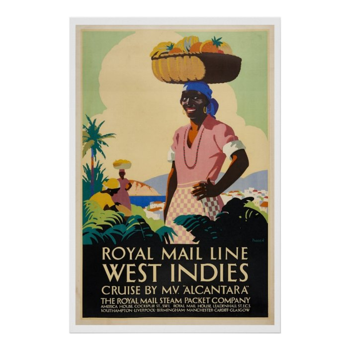 Vintage Advertising Atlantis West Indies Canvas Wall Art Print Royal Mail