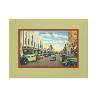 Vintage West Palm Beach Florida Clematis Street Canvas Print