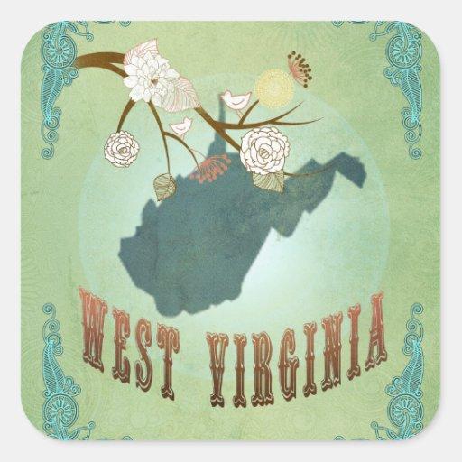 Vintage West Virginia State Map – Sage Green Square Sticker