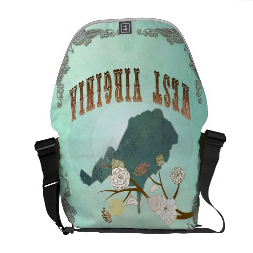 Vintage West Virginia State Map – Turquoise Blue Courier Bag