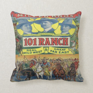 Vintage Western 101 Ranch Poster Print Throw Pillow