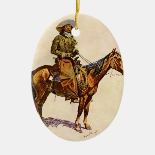 Vintage Western, An Arizona Cowboy by Remington Ceramic Ornament
