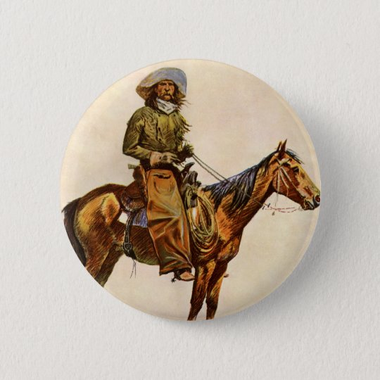 Vintage Western, An Arizona Cowboy by Remington Pinback Button