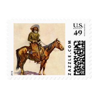 Vintage Western, An Arizona Cowboy by Remington Postage Stamp