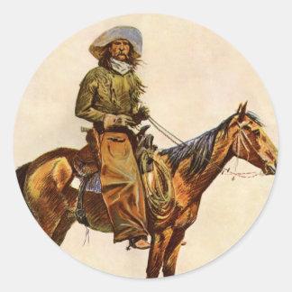 Vintage Western, An Arizona Cowboy by Remington Classic Round Sticker