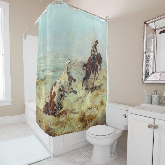 Vintage Western Art Cowboy Roping A Steer Shower Curtain