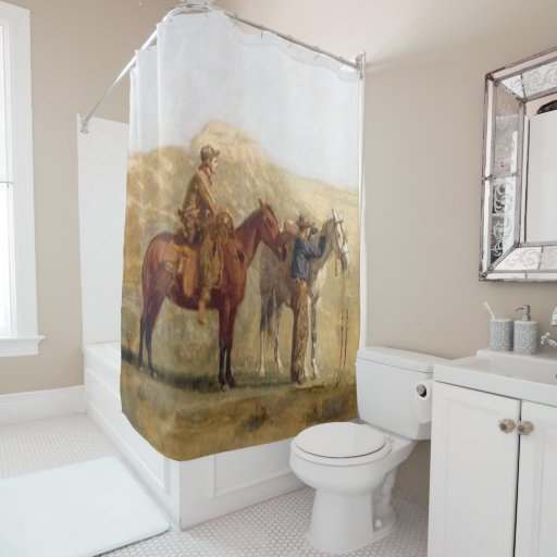 Vintage Western Art Cowboy With Horses Shower Curtain