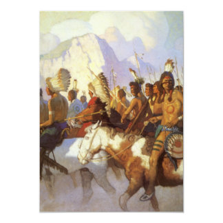 Vintage Western Art, Indian War Party by NC Wyeth 5x7 Paper Invitation Card