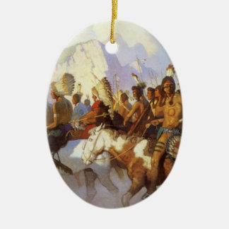 Vintage Western Art, Indian War Party by NC Wyeth Ceramic Ornament