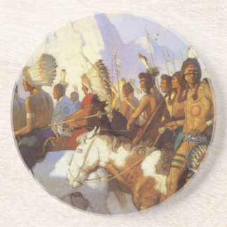 Vintage Western Art, Indian War Party by NC Wyeth Coaster
