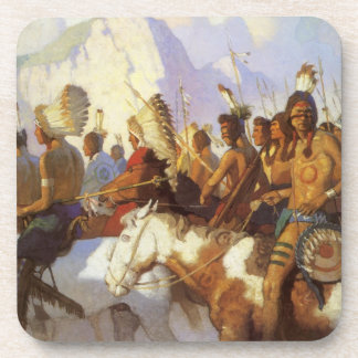 Vintage Western Art, Indian War Party by NC Wyeth Coaster