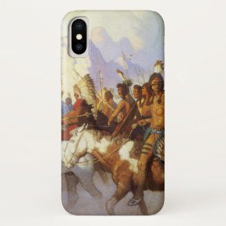Vintage Western Art, Indian War Party by NC Wyeth iPhone X Case