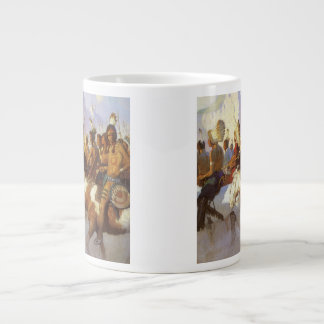 Vintage Western Art, Indian War Party by NC Wyeth Large Coffee Mug