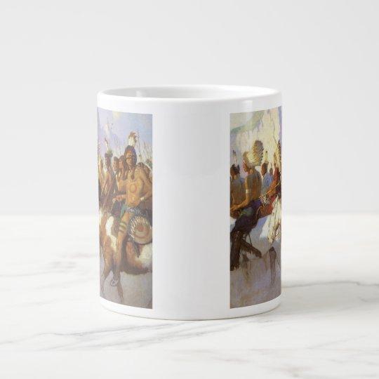 Vintage Western Art, Indian War Party by NC Wyeth Large Coffee Mug