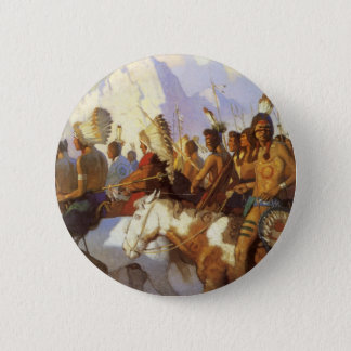 Vintage Western Art, Indian War Party by NC Wyeth Pinback Button