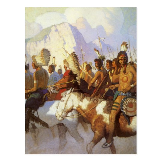 Vintage Western Art, Indian War Party by NC Wyeth Postcard
