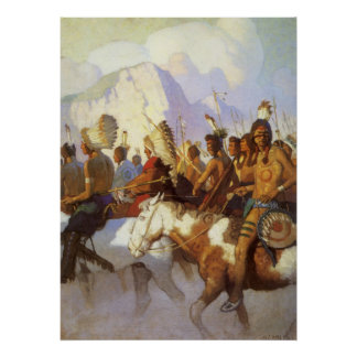 Vintage Western Art, Indian War Party by NC Wyeth Poster