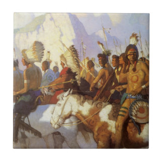 Vintage Western Art, Indian War Party by NC Wyeth Small Square Tile