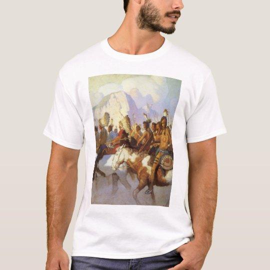 Vintage Western Art, Indian War Party by NC Wyeth T-Shirt