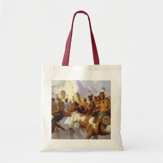 Vintage Western Art, Indian War Party by NC Wyeth Tote Bag