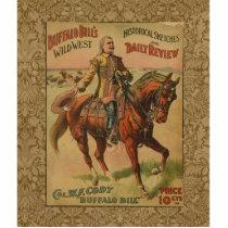 Vintage Western Buffalo Bill Artwork Illustration Statuette