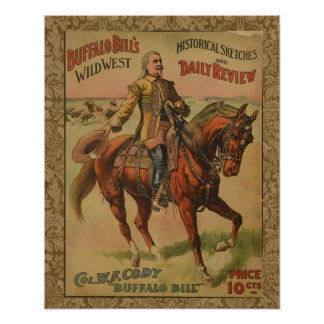 Vintage Western Buffalo Bill Wild West Show Poster