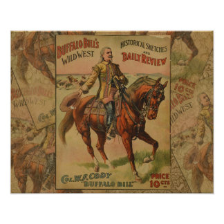 Vintage Western Buffalo Bill Wild West Show Poster