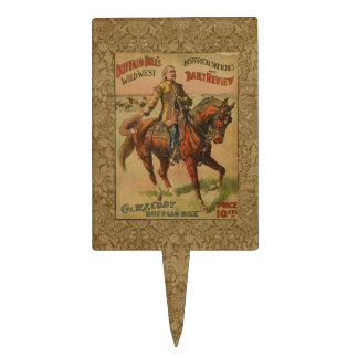 Vintage Western Buffalo Bill Wild West Show Poster Cake Topper