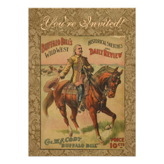 Vintage Western Buffalo Bill Wild West Show Poster Personalized Announcement