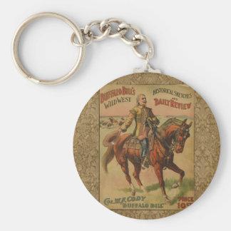 Vintage Western Buffalo Bill Wild West Show Poster Basic Round Button Keychain