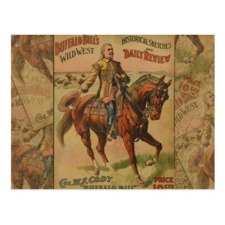 Vintage Western Buffalo Bill Wild West Show Poster Postcard