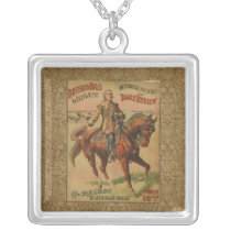 Vintage Western Buffalo Bill Wild West Show Poster Silver Plated Necklace
