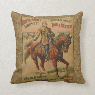 Vintage Western Buffalo Bill Wild West Show Poster Throw Pillow