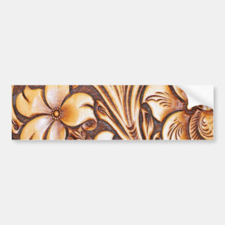 vintage western country carved leather bumper sticker