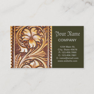 Vintage western business cards zazzle vintage western country cowboy tooled leather business card colourmoves