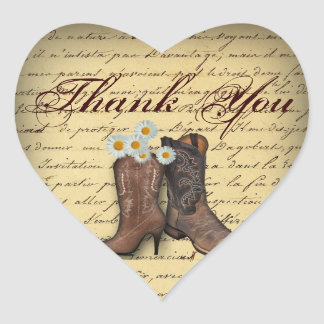 vintage western country cowboy wedding heart sticker