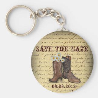 vintage western country cowboy wedding keychain