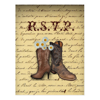 vintage western country cowboy wedding RSVP Postcard