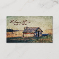vintage western country log cabin farm business card