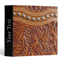 vintage western country pattern studded leather 3 ring binder
