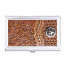 vintage western country pattern studded leather case for business cards