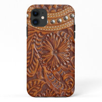 vintage western country pattern studded leather iPhone 11 case