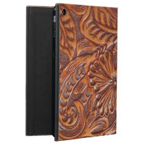 vintage western country pattern studded leather cover for iPad air