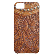 vintage western country pattern studded leather cover for iPhone 5C