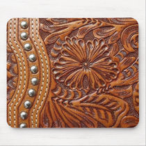 vintage western country pattern studded leather mouse pad