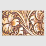 vintage western country tooled leather fashion rectangular sticker